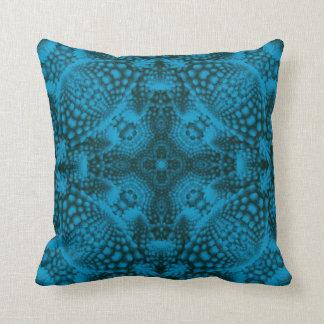 Black And Blue Kaleidoscope Pattern  Throw Pillows