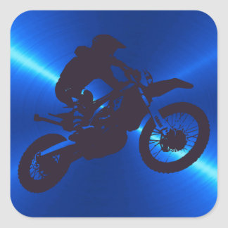 Black and Blue Metal Motocross Silhouettes Sticker
