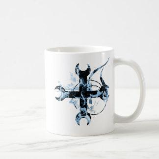 Black and Blue Moon Cross Basic White Mug