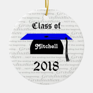 Black and blue Mortar cap Graduation Ornament