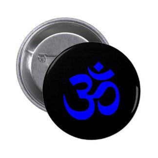Black and Blue Om Symbol 6 Cm Round Badge