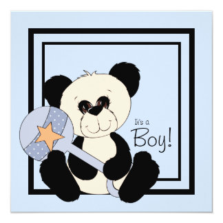 Black and Blue Panda Baby Shower Card