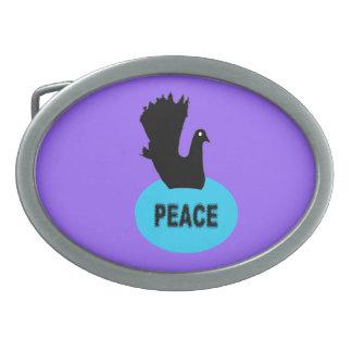 Black and Blue Peace Dove Belt Buckle