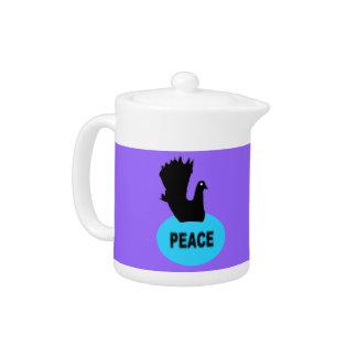 Black and Blue Peace Dove Teapot