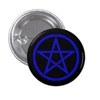 Black and Blue Pentacle Pentagram Button Badge