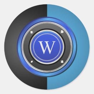 Black and Blue Poker Chip with Custom Monogram Round Sticker