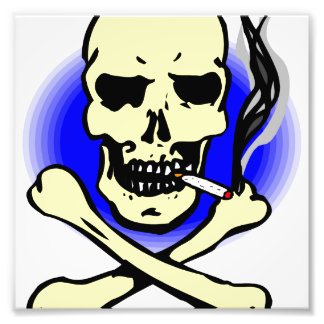 black and blue skull and crossbones smoking photographic print