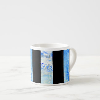 Black and Blue Stripe with storm clouds artist cup