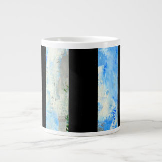 black and blue stripes sky clouds pattern large coffee mug