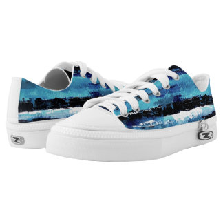 Black and Blue Tiger Stripes Sneakers