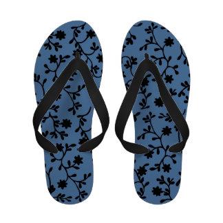 Black and blue vine flip flops
