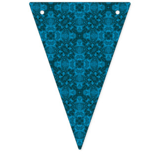 Black And Blue Vintage Kaleidoscope Bunting Flags
