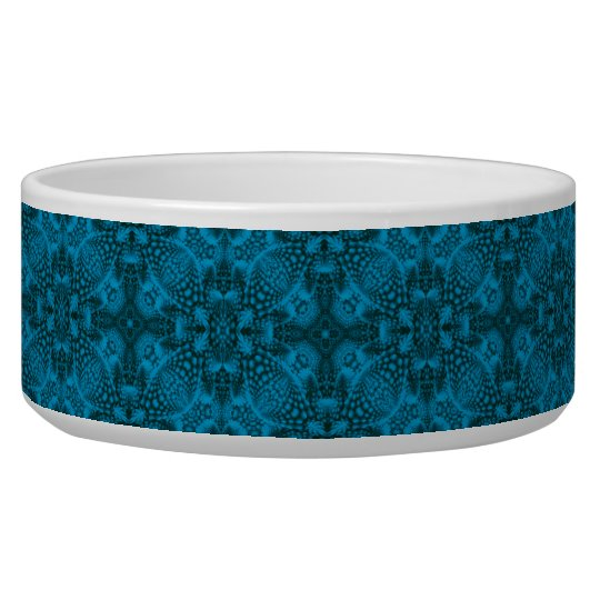 Black And Blue Vintage Kaleidoscope Pet Dish