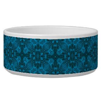 Black And Blue Vintage   Kaleidoscope  Pet Dish Pet Water Bowl