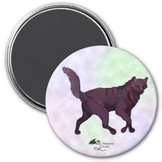 Black and Blue Wolf in clouds Magnet