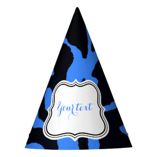 Black and blue zebra animal fashion glamour party hat