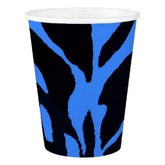 Black and blue zebra jungle animal fashion paper cup