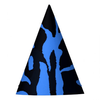 Black and blue zebra jungle animal fashion party hat