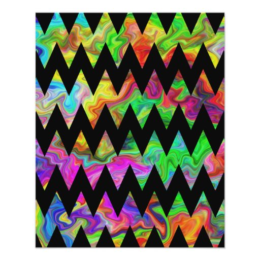 Black and Bright Multicolored Zigzags. Personalized Flyer