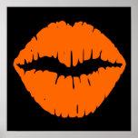 Black and Bright Orange Lipstick Kiss Poster