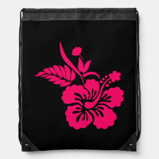 Black and Bright Pink Hawaiian Flowers Drawstring Bag