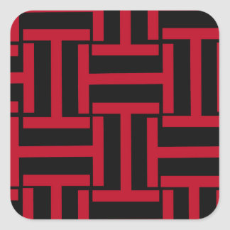 Black and Bright Red T Weave Square Sticker