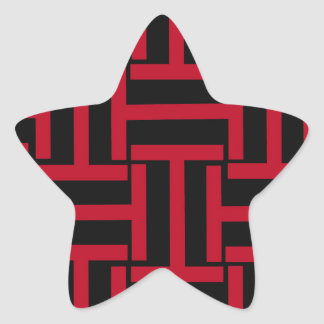 Black and Bright Red T Weave Star Sticker