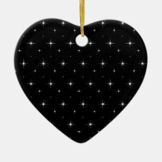 Black-And-Bright-Stars-Elegant-Pattern Ceramic Heart Decoration