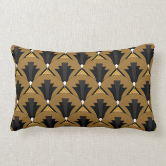 Black and Bronze Art Deco Geometric Lumbar Cushion