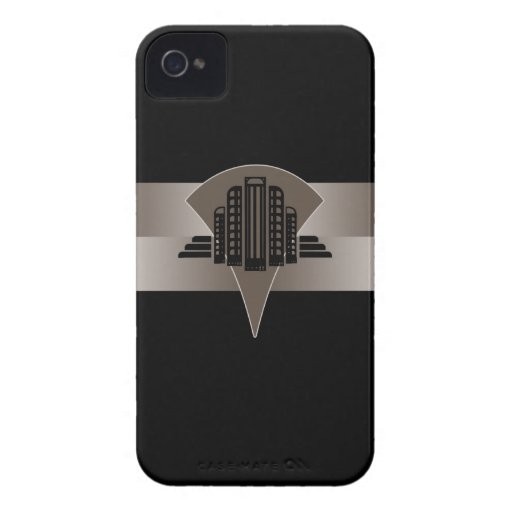 Black and Bronze Art Deco Tower Blackberry Case