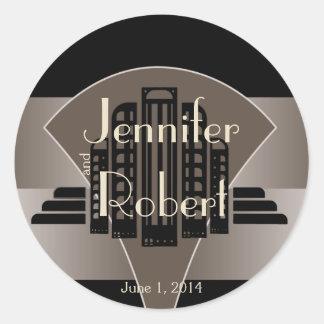 Black and Bronze Art Deco Tower Envelope Seal Round Sticker
