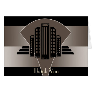 Black and Bronze Art Deco Tower Thank You Card