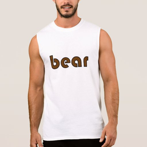 "Black and Brown ""bear"" Sleeveless T T Shirt"