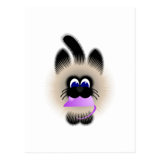 Black And Brown Cat Carrying A Pale Purple Mouse Postcard