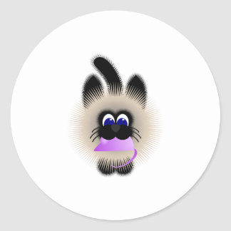 Black And Brown Cat Carrying A Pale Purple Mouse Stickers