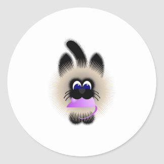 Black And Brown Cat Carrying A Pale Purple Mouse Round Sticker