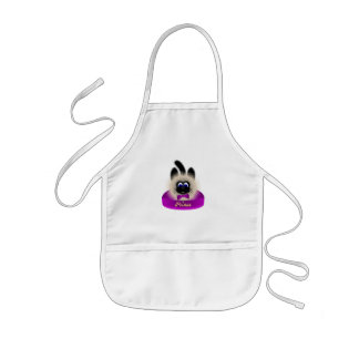 Black And Brown Cat With Dark Purple Tie In A Bed Aprons