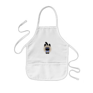 Black And Brown Cat With Pale Blue Tie Apron