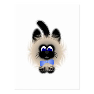 Black And Brown Cat With Pale Blue Tie Postcard