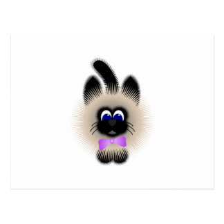 Black And Brown Cat With Pale Purple Tie Postcard
