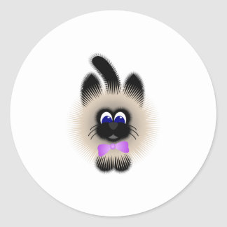 Black And Brown Cat With Pale Purple Tie Classic Round Sticker
