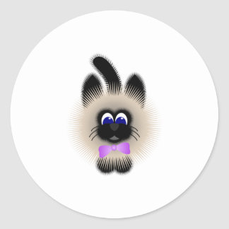 Black And Brown Cat With Pale Purple Tie Round Stickers