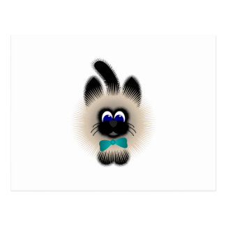 Black And Brown Cat With Teal Tie Post Card