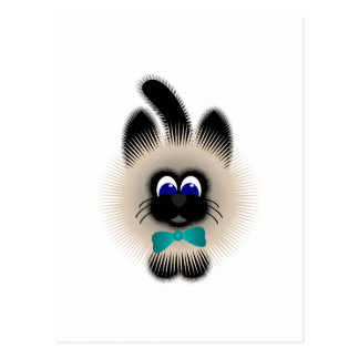Black And Brown Cat With Teal Tie Postcards