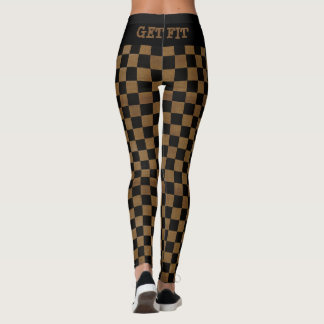 Black and Brown Checkered Burlap Design - Get Fit Leggings