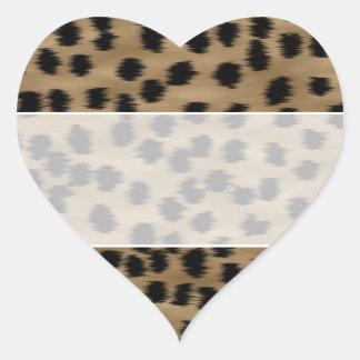 Black and Brown Cheetah Print Pattern. Heart Sticker