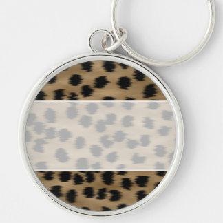 Black and Brown Cheetah Print Pattern. Key Ring