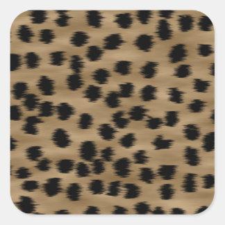 Black and Brown Cheetah Print Pattern. Square Sticker