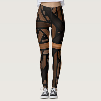 Black and Brown Geometric Interlaced striped Leggings