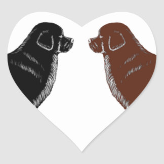 Black and Brown Newfoundland Dogs Heart Sticker